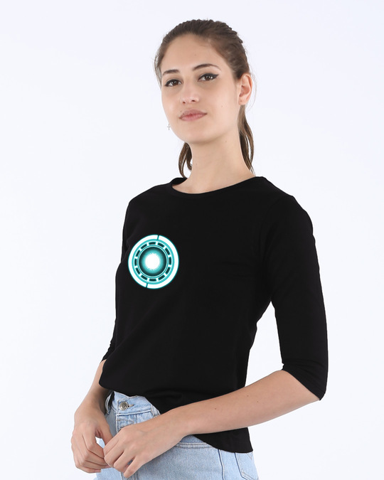 Shop Real Arc Reactor Round Neck 3/4th Sleeve T-Shirt (AVL) (GID)-Back