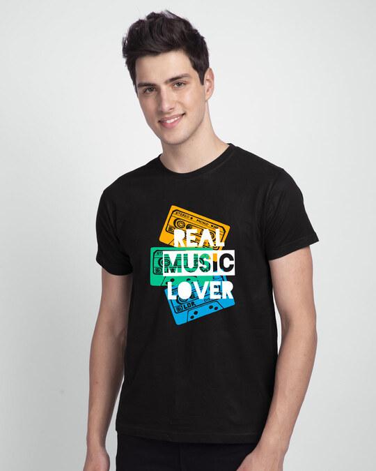 Shop Real Music Lover Half Sleeve T-Shirt Black-Front