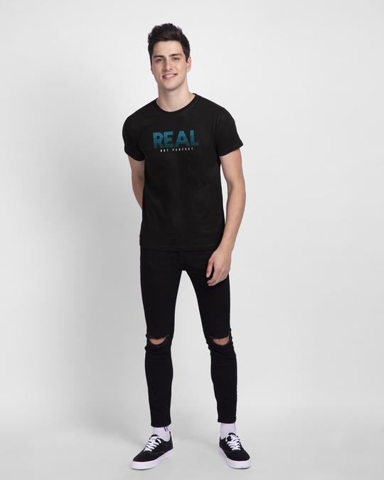 Shop Real Not Perfect Half Sleeve T-shirt Black-Design