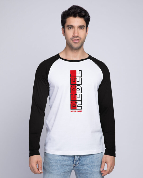 Shop Rebel Stripe Full Sleeve Raglan T-Shirt White-Black-Front