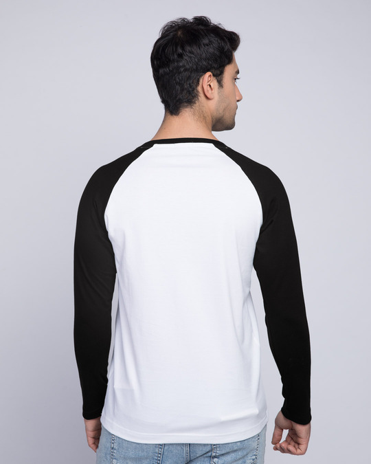 Shop Rebel Stripe Full Sleeve Raglan T-Shirt White-Black-Back