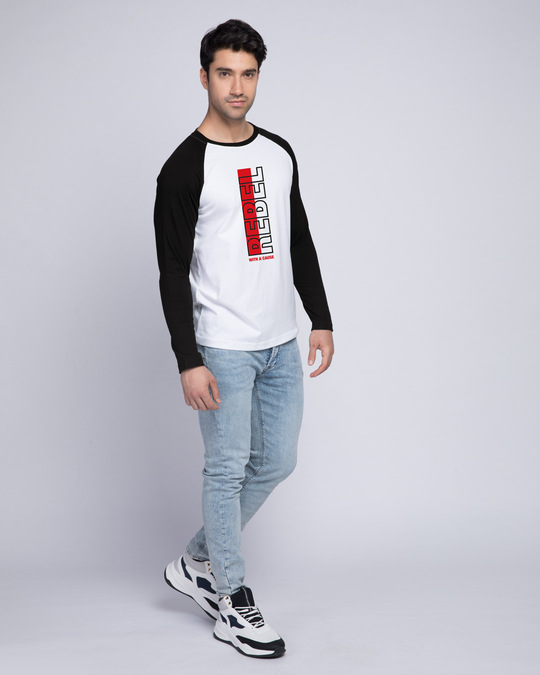 Shop Rebel Stripe Full Sleeve Raglan T-Shirt White-Black-Full