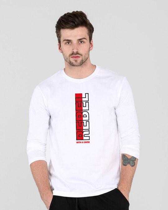 Shop Rebel Stripe Full Sleeve T-Shirt White-Front