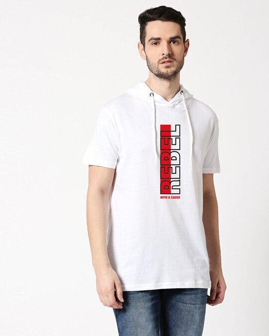 Shop Rebel Stripe Half Sleeve Hoodie T-shirt White-Front