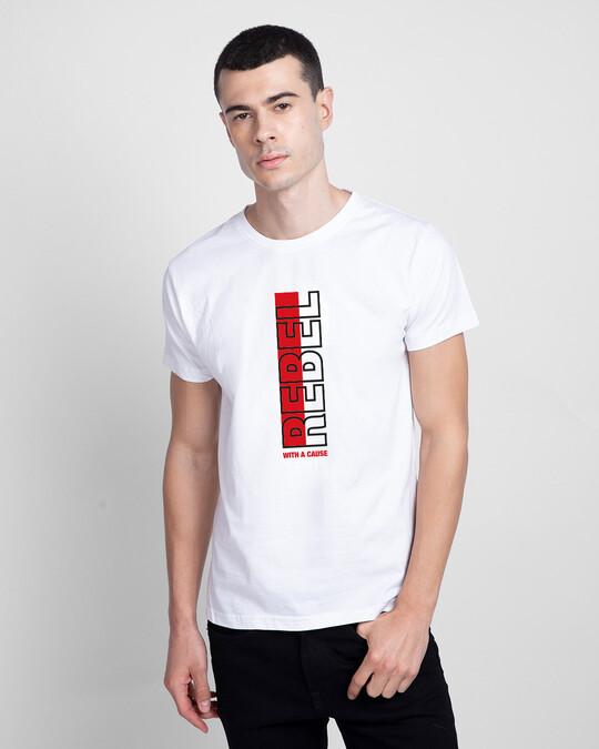 Shop Rebel Stripe Half Sleeve T-Shirt White-Front
