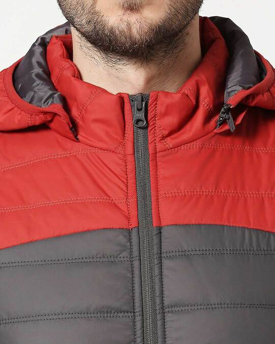 Shop Red & Grey Two Block Vest Puffer Jacket with Detachable Hoodie