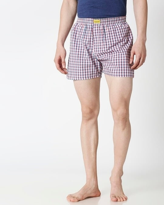 Shop Red and Blue Checks Men's Boxers-Back