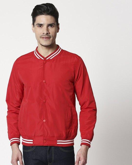 Shop Red Anti Varsity Bomber Jacket-Back