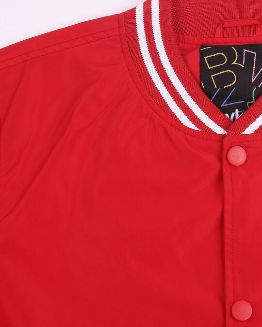 Shop Red Anti Varsity Bomber Jacket