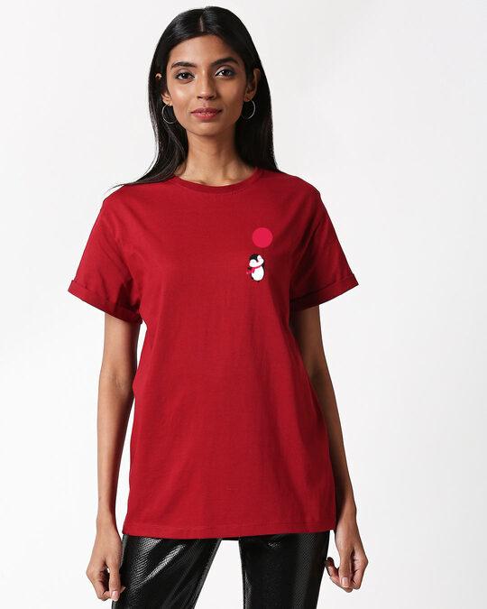 Shop Red Ballon Penguin Boyfriend T-Shirt-Back