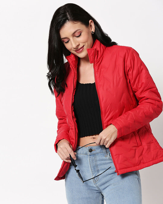 Shop Red Embossed Puffer Jacket-Front