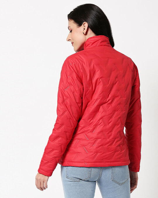 Shop Red Embossed Puffer Jacket-Full