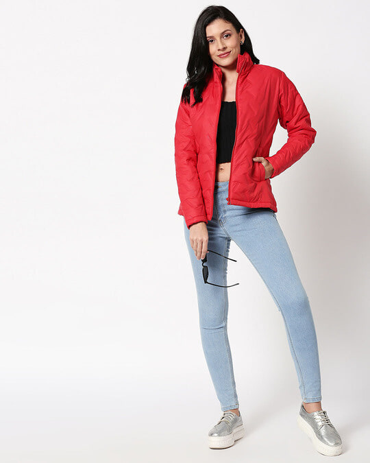 Shop Red Embossed Puffer Jacket