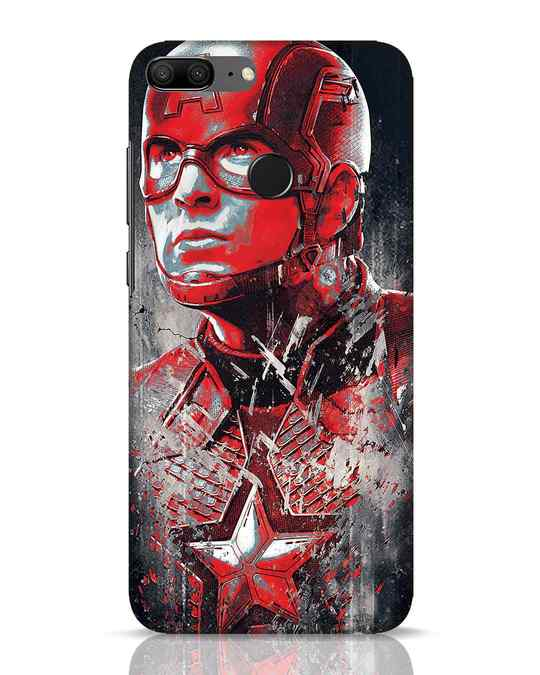 Shop Red Captain America Huawei Honor 9 Lite Mobile Cover-Front