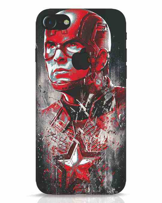 Shop Red Captain America iPhone 7 Logo Cut Mobile Cover-Front