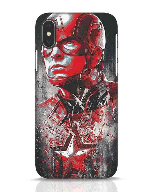 Shop Red Captain America iPhone X Mobile Cover-Front