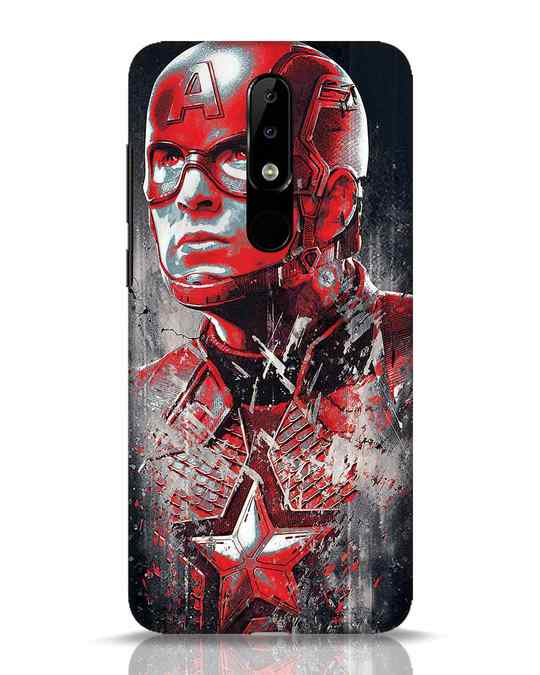 Shop Red Captain America Nokia 5.1 Plus Mobile Cover-Front