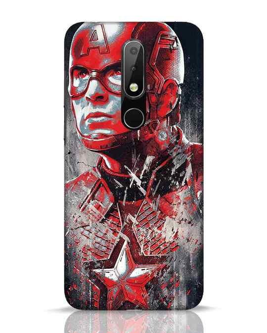 Shop Red Captain America Nokia 6.1 Plus Mobile Cover-Front