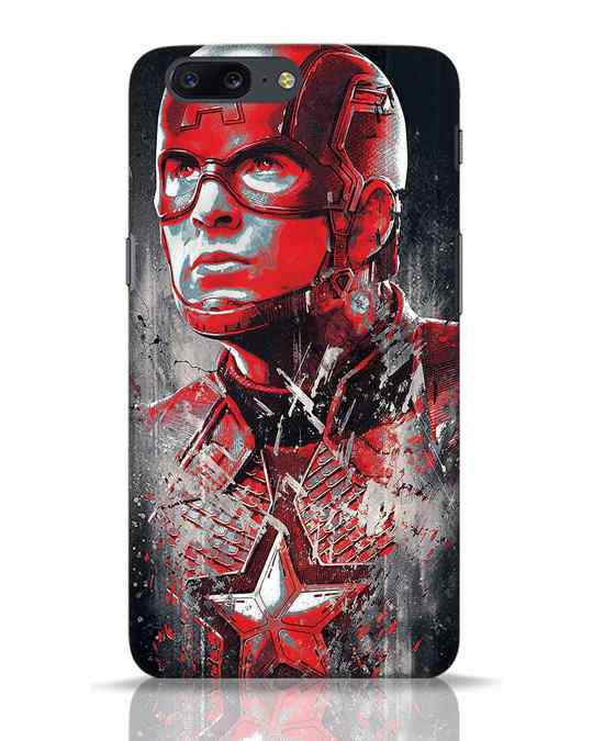Shop Red Captain America OnePlus 5 Mobile Cover-Front
