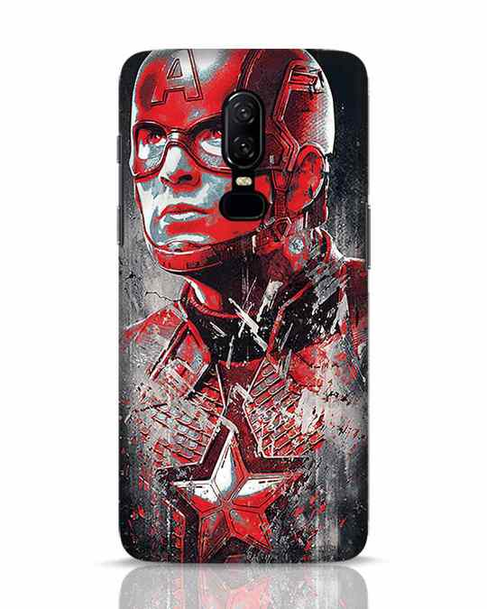 Shop Red Captain America OnePlus 6 Mobile Cover-Front