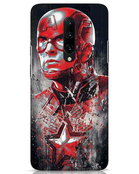Shop Red Captain America OnePlus 7 Pro Mobile Cover-Front