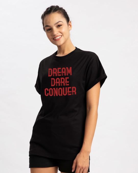 Shop Red Conqueror Boyfriend T-Shirt-Back