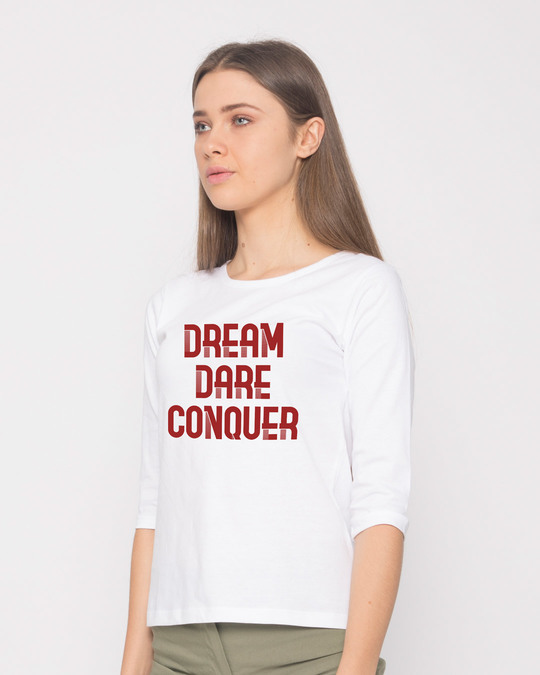 Shop Red Conqueror Round Neck 3/4th Sleeve T-Shirt-Back