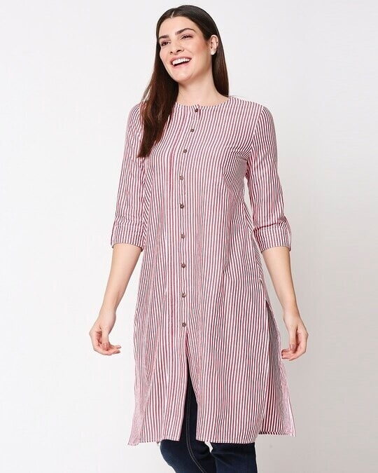 Shop Women's Stripe Red Long Kurta-Front