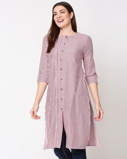 Shop Women's Stripe Red Long Kurta-Front