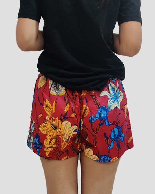 Shop Whats Down Women's Red Floral Boxer-Full