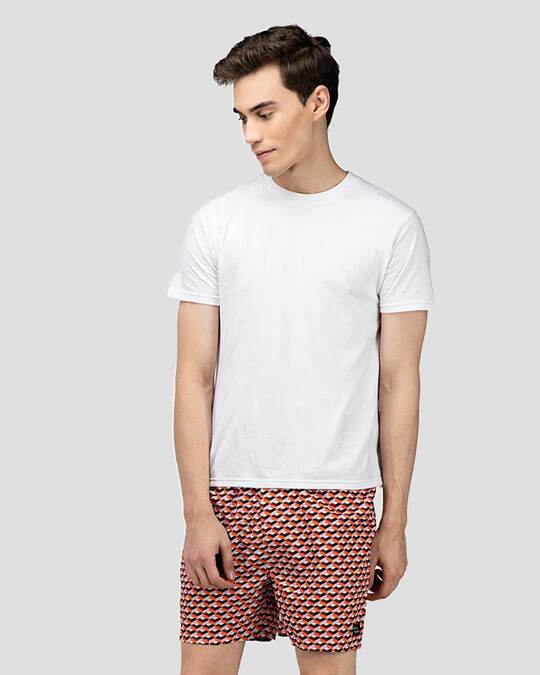 Shop What's Down | Red Geometric Pattern Boxer Shorts | Math Boxers-Full