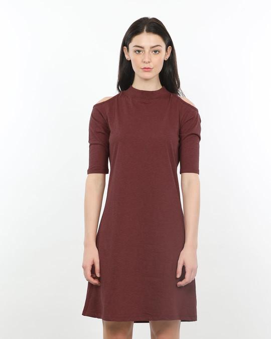 6a14c9d71c25 Red Melange Cold Shoulder T-Shirt Dresses - Plain Womens Cold ...