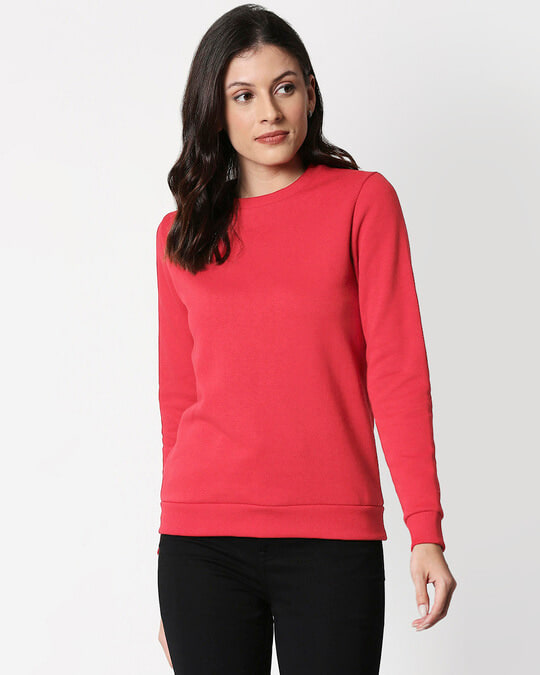 Shop Red Melange Fleece Sweater-Front