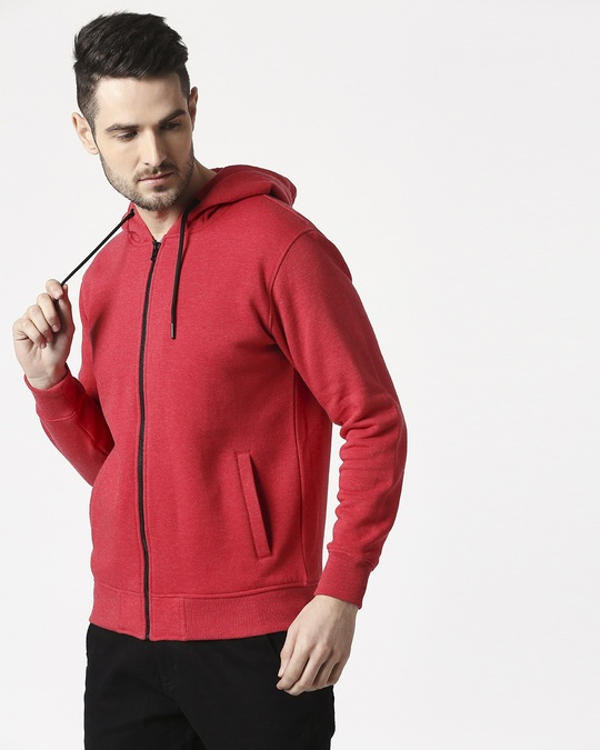 Shop Red Melange Zipper Hoodie-Front