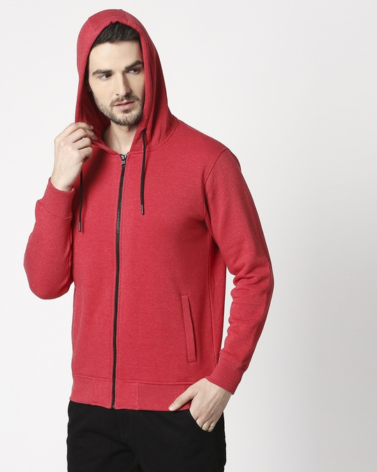 Shop Red Melange Zipper Hoodie-Design