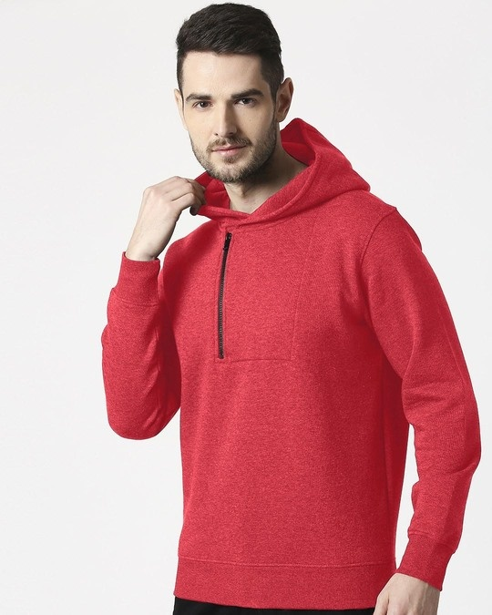 Shop Red Melange Stylised Zip Panel Hoodie Sweatshirt-Front