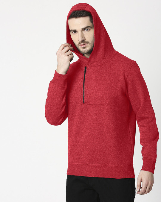 Shop Red Melange Stylised Zip Panel Hoodie Sweatshirt-Design