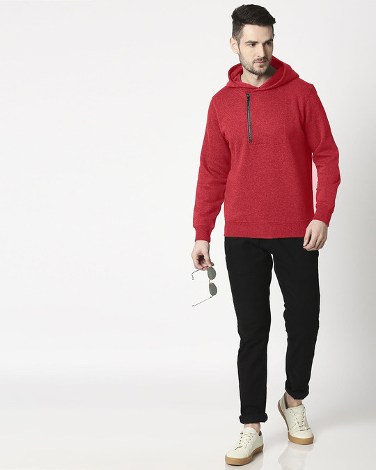 Shop Red Melange Stylised Zip Panel Hoodie Sweatshirt