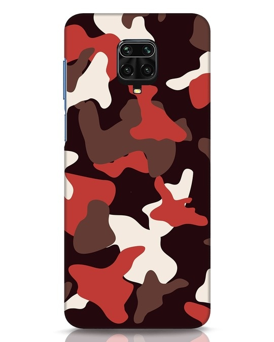 Shop Red Modern Camo Xiaomi Redmi Note 9 Pro Mobile Cover-Front