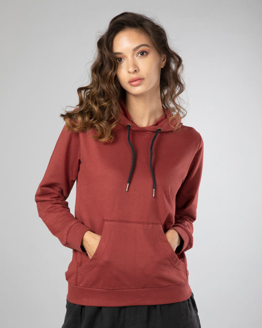 Shop Red Pear Fleece Hoodies-Front