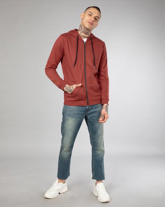 Shop Red Pear Fleece Zipper Hoodies-Full