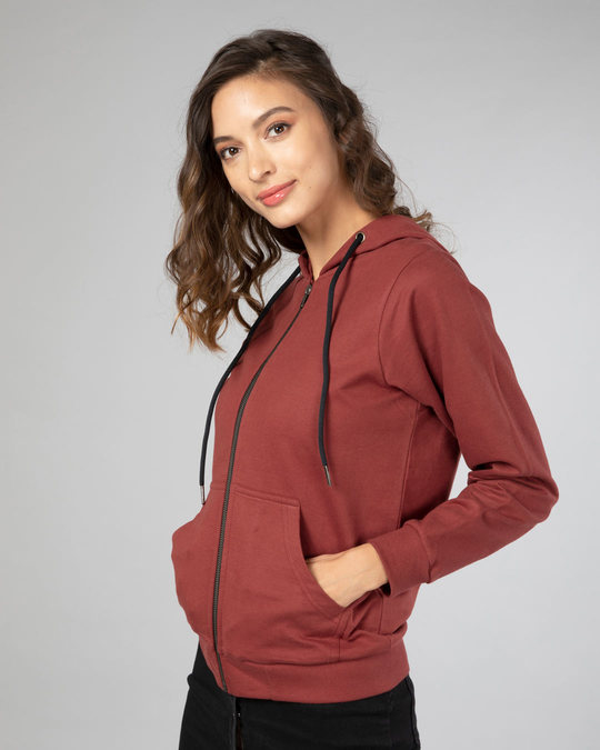 Shop Red Pear Fleece Zipper Hoodies-Back