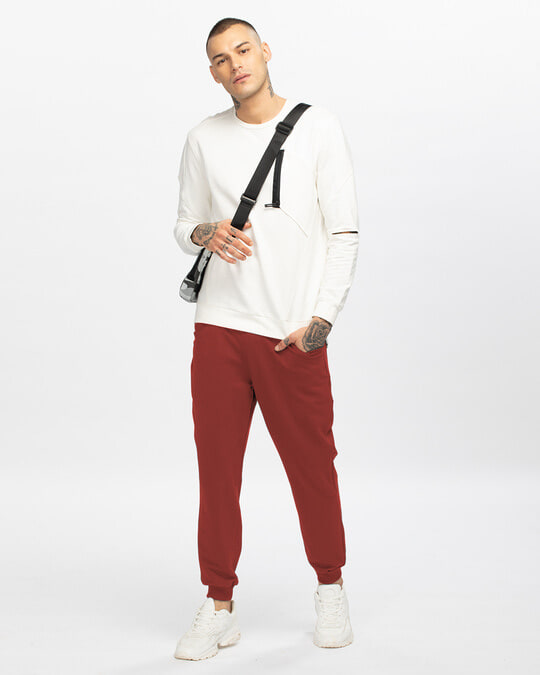 Shop Red Pear Men's Casual Joggers-Full