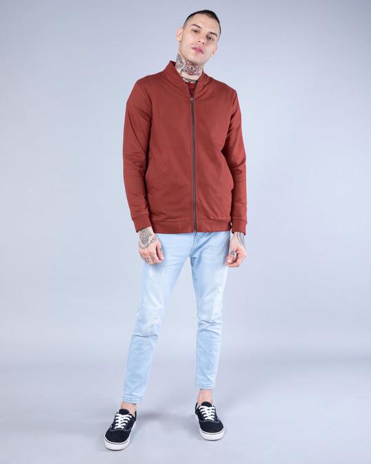Shop Red Pear Plain Zipper Bomber Jacket-Full
