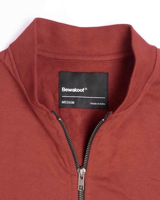 Shop Red Pear Plain Zipper Bomber Jacket