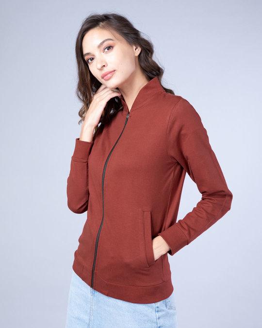 Shop Red Pear Plain Zipper Bomber Jacket-Design