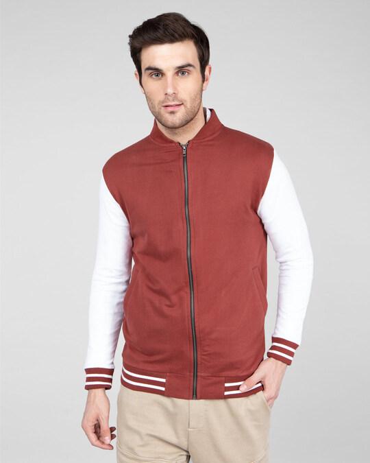 Shop Red Pear Varsity Bomber Jacket-Back