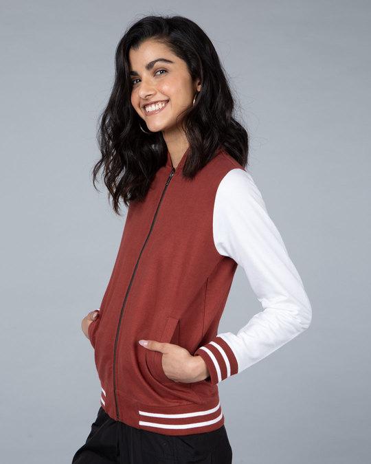 Shop Red Pear Varsity Plain Bomber Jacket-Back