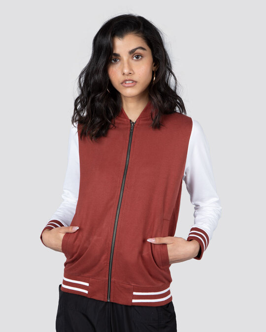 Shop Red Pear Varsity Plain Bomber Jacket-Front