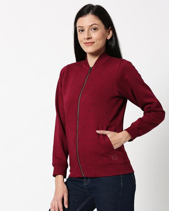 Shop Red Plum AOP Zipper Bomber Jacket-Design